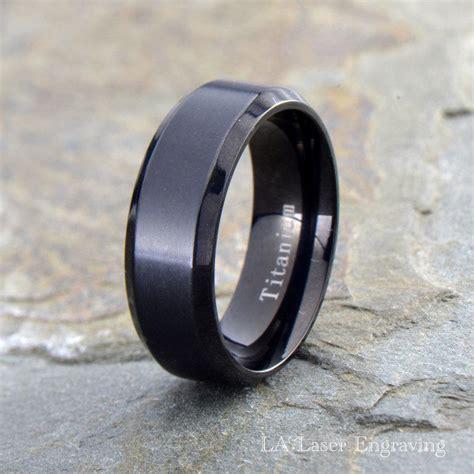mens titanium wedding band polished beveled edge ring