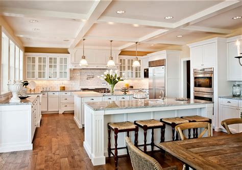 kitchen with 2 islands family home with fabulous white kitchen home bunch interior design ideas