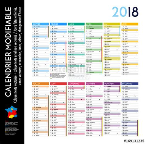 Calendrier 2018 Avec Numero Semaine Quot Calendrier 2018 Sur 12 Mois Modifiable Avec Calques