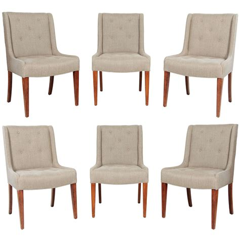 linen dining room chairs set of six tufted dining chairs in hemp linen at 1stdibs