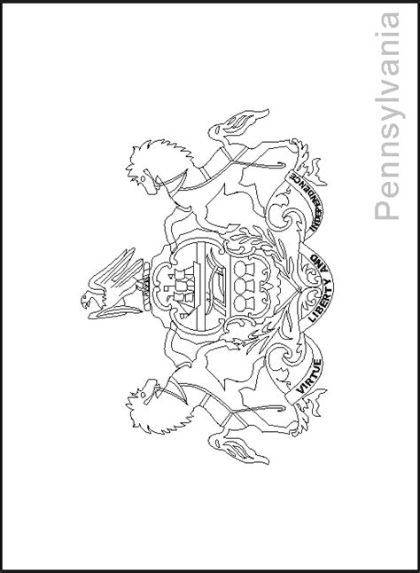 pennsylvania state flag coloring pages usa for kids