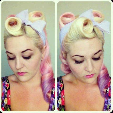Pin Up Scarf Hairstyles by Vintage Hair Half Up Victory Rolls Scarf Bow Pinup