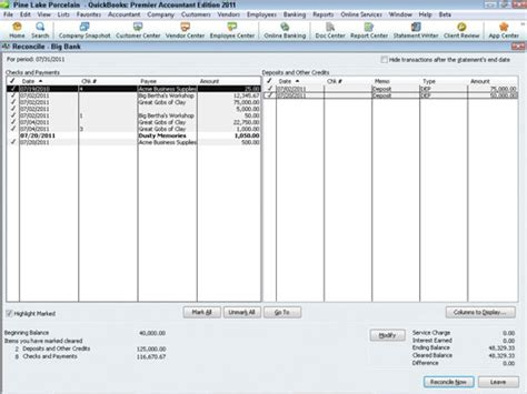 Print Previous Reconciliation Report Quickbooks Mac by How To Reconcile Your Bank Account In Quickbooks 2011 Dummies