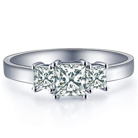 1 carat princess cut three engagement ring