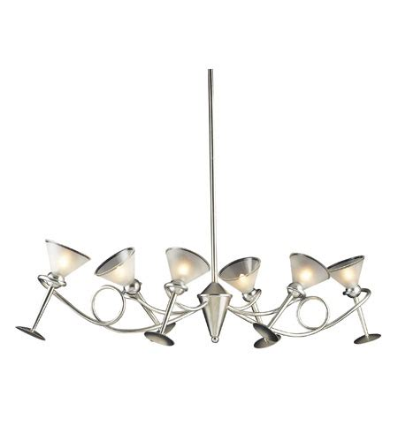 Martini Glass Chandelier Elk Lighting Martini Glass 6 Light Chandelier In Silver Leaf 3654 6