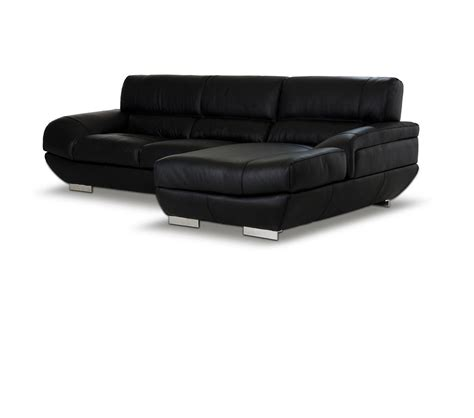 Modern Black Leather Sectional by Dreamfurniture Alfred Modern Black Leather