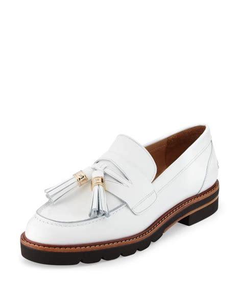 white tassel loafers stuart weitzman manila leather tassel loafers in white
