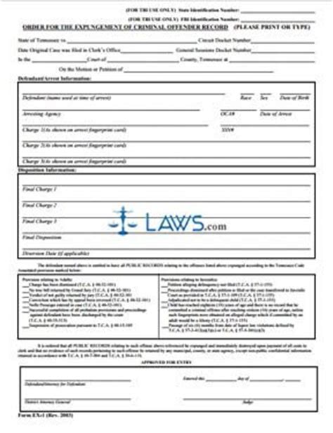 Expunge Criminal Record Iowa Order For Expungement Of Criminal Offender Record Tennessee Forms Laws