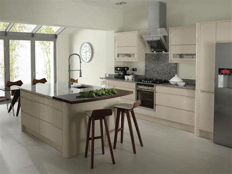 Beige Kitchen by Remo Curved Gloss Kitchen In Beige