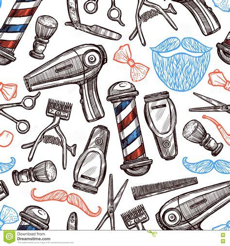 doodlebug shop barber shop attributes doodle seamless pattern stock