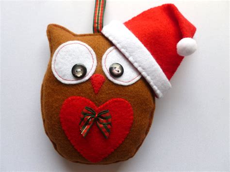 christmas felt owl hanging decoration handmade