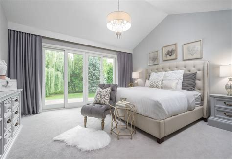 Master Bedroom Carpet Charming White And Grey Master Bedroom With Carpet And Tufted Bed And Chair Artenzo