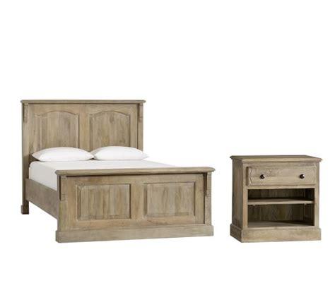 bedroom table l sets linden bed and bedside table set pottery barn