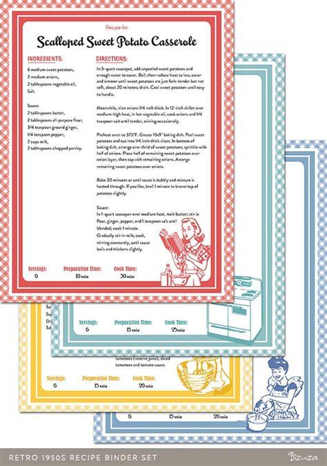 recipe book binder set retro  style printable