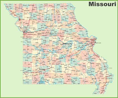 missouri map with cities and towns road map of missouri with cities