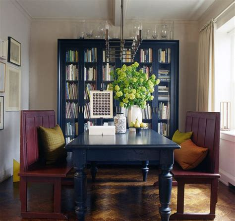 Bookshelves In Dining Room by Beautiful Bookcase In Navy Blue Make For A Lovely Backdrop