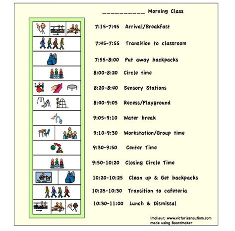 visual work template free visual schedule charts schedules