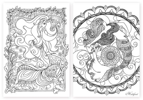 card mermaid coloring templates mermaid galore grown up coloring hattifant