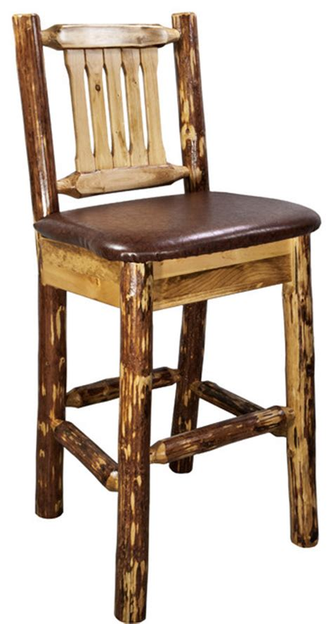 Country Bar Stools With Back by Glacier Country Barstool With Back Upholstered Seat Chestnut Rustic Bar Stools And Counter