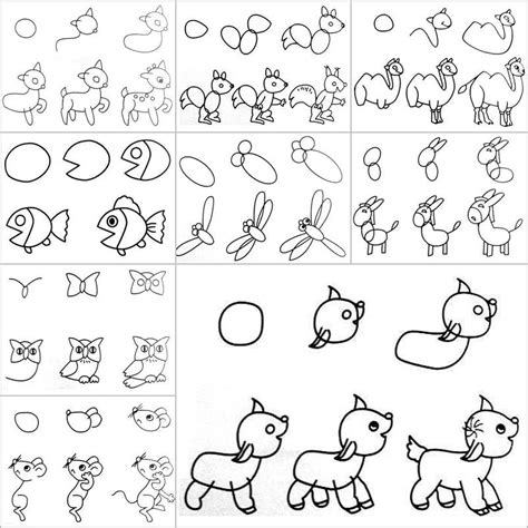 how to do easy doodle how to draw easy animal figures in simple steps