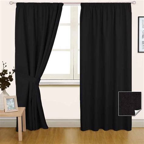 ebay black curtains thermal blackout lined plain black pencil pleat curtains