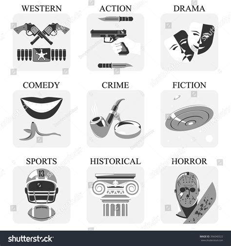 film drama genre film genres vector icon set movie genres vector icons
