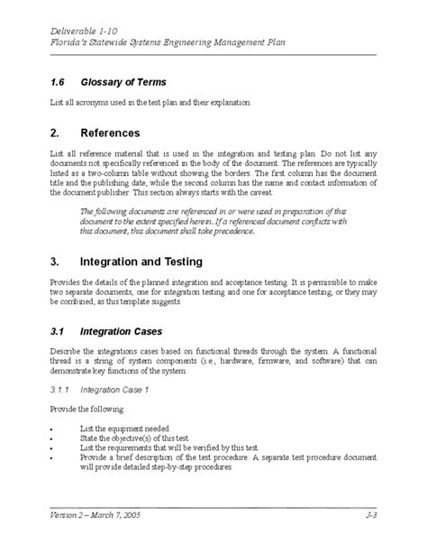system test template system test plan template free