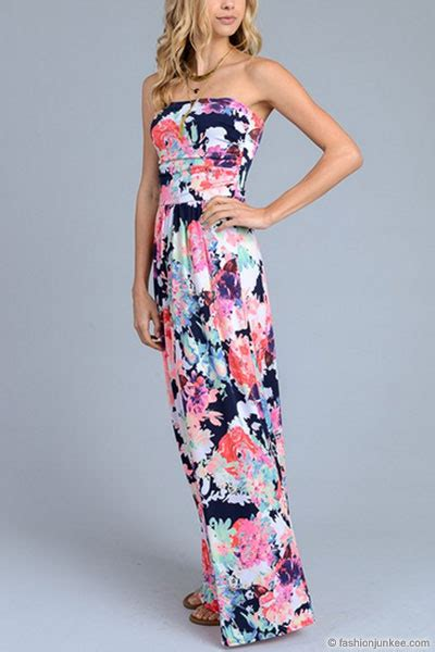 Bright Floral Maxi Dress - bright splash of color ful strapless floral maxi