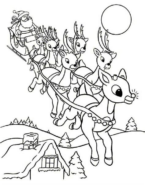 Coloring Pages Reindeer And Sleigh | rudolph and santa sleigh coloring pages hellokids com