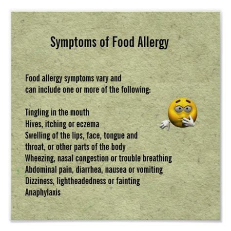printable allergy poster symptoms of food allergy poster zazzle