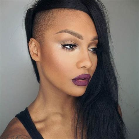 pin  shaved side hairstyles