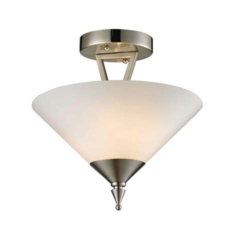 tribecca 2 light brushed nickel semi flush mount light tn