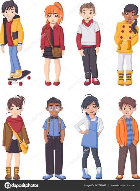 imagenes de adolescentes cool grupo de ni 241 os de moda de dibujos animados archivo