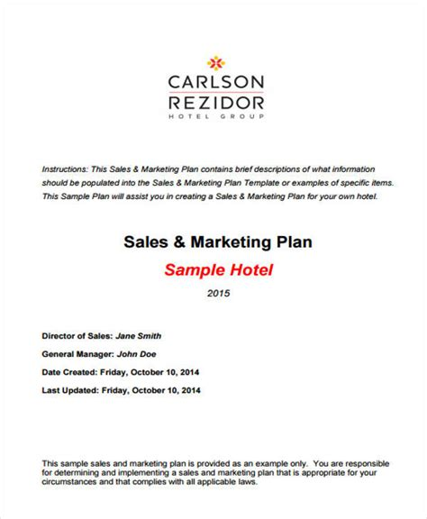 sle business plan hotel pdf 28 sales plan templates