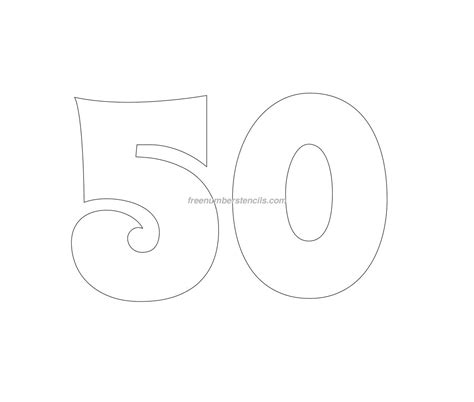 Free Groovy 50 Number Stencil Freenumberstencils Com Printable 50 Template