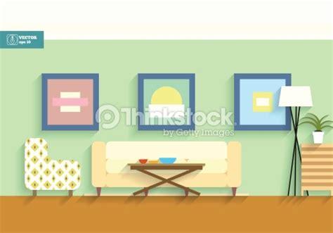 Living Room Flat Design Vector Habitaci 243 N Interior Con Pantalla Plana Vector Arte