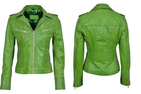 green motorcycle jacket bright green leather jacket fit jacket