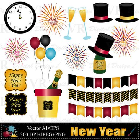 new year clip set new year clip chagne clip new year by