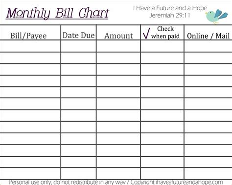 bill planner template monthly bill planner excel excel bill tracker monthly