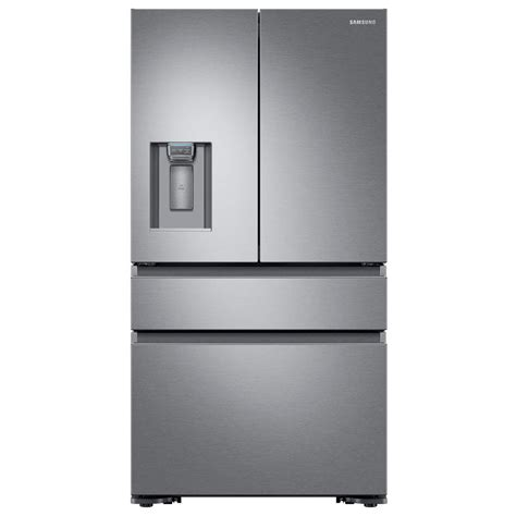 samsung 22 6 cu ft 4 door door refrigerator with recessed handle in stainless steel