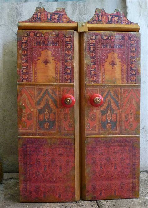 Decoupage Cabinet - decoupage and tile boxes cabinets artwork by margrit