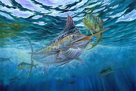 Hunting Duvet Cover Great Blue And Mahi Mahi Underwater Painting By Terry Fox