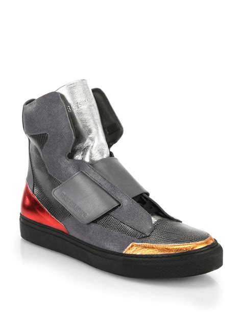 lyst raf simons mixed media high top sneakers in gray