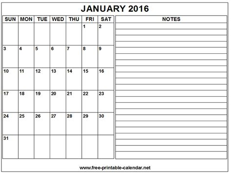 printable calendar january 2016 2016 free printable calendar with notes calendar