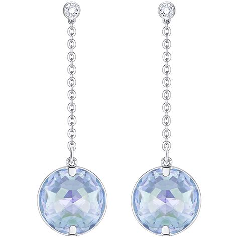 swarovski drop swarovski blue globe drop earrings