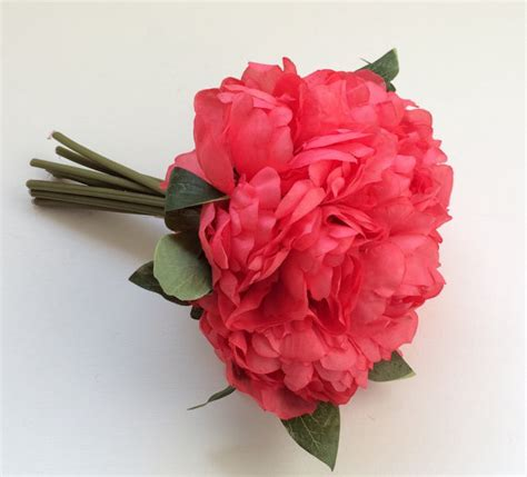 Budget Silk Wedding Flowers by Artificial Flowers One Coral Peony Bouquet Budget Silk