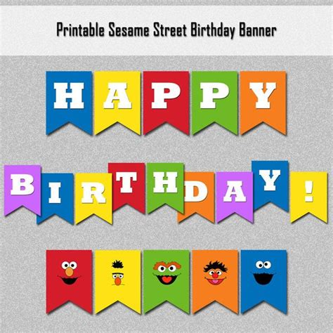 sesame banner template sesame characters inspired happy birthday by custombazaar 7 00 sesame