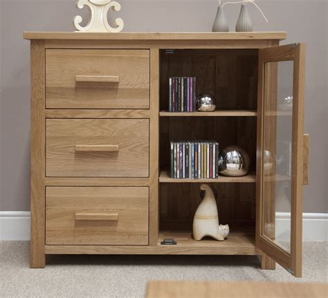 Oak Hi Fi Cabinets With Glass Doors Eton Solid Oak Furniture Small Glazed Sideboard Hi Fi Cabinet Chest Ebay
