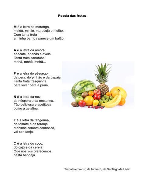 rimas con frutas abc das letras poesia das frutas 171 entrelinhas