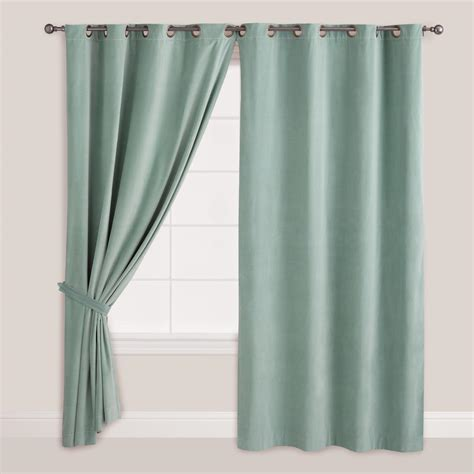 velvet grommet curtains blue surf velvet grommet top curtain world market